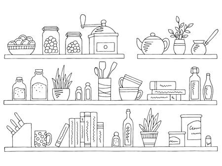 Shelves set graphic black white isolated kitchenware sketch illustration vector Ilustracje wektorowe