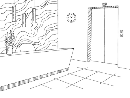 Reception lobby interior graphic black white sketch illustration vector