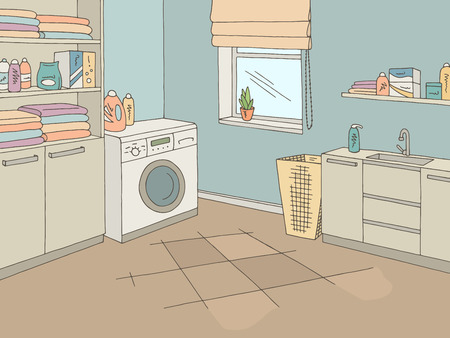 Laundry room home interior graphic color sketch illustration vector