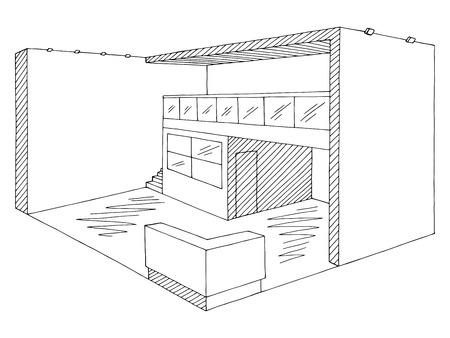 Schwarzer weißer Skizzenillustrationsvektor des Ausstellungsstandgrafikinnenraums