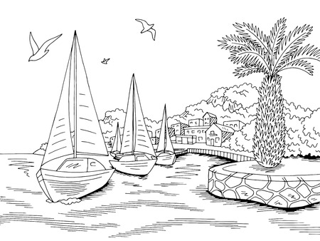 Seafront pier graphic yacht sea bay black white landscape sketch illustration vector Illustration