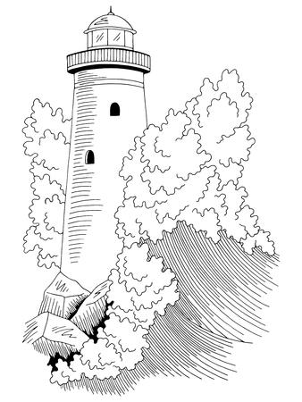 Faro, mar, tormenta, onda, gráfico, negro, blanco, paisaje marino, bosquejo, ilustración, vector