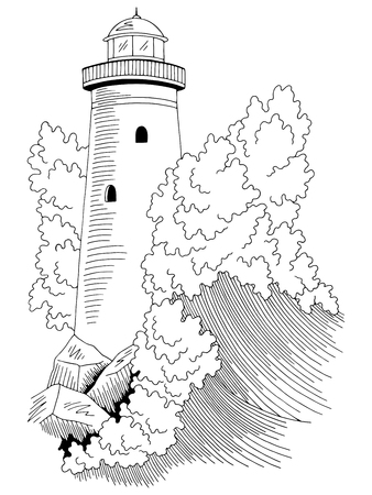 Lighthouse sea storm wave graphic black white seascape sketch illustration vector