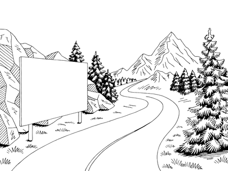 Mountain road billboard graphic black white landscape sketch illustration vector Ilustrace