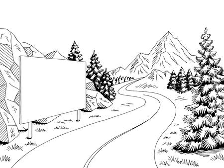 Mountain road billboard graphic black white landscape sketch illustration vector Illustration