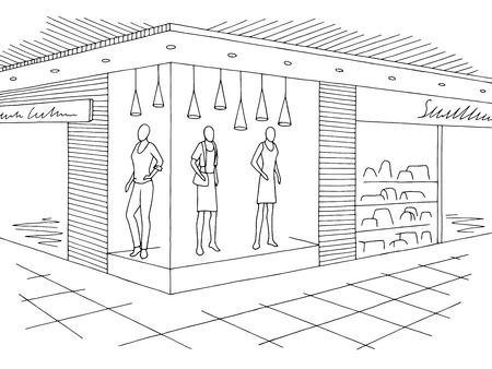 Centre commercial graphique noir blanc intérieur esquisse illustration vectorielle
