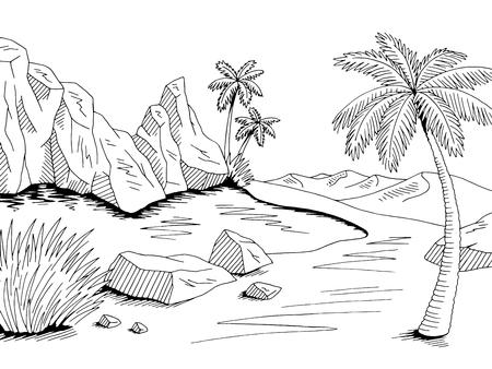 Vettore dell'illustrazione del paesaggio bianco nero grafico del deserto dell'oasi
