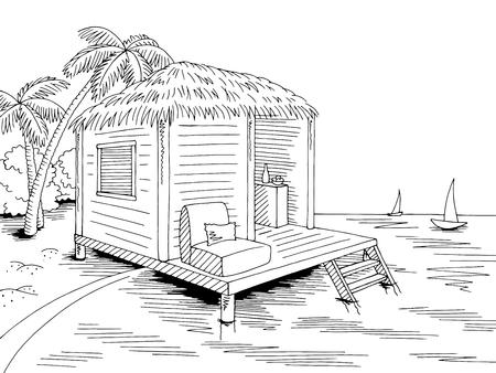 Noir blanc mer paysage croquis vecteur bungalow cabane maison côte