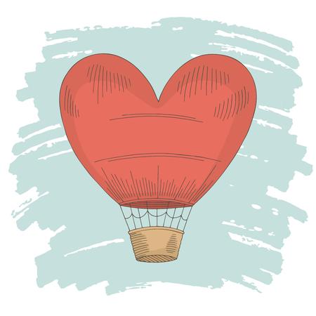 Heart air balloon color graphic isolated sketch illustration vector Vektoros illusztráció