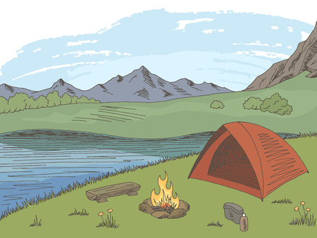 Camping graphic color mountain landscape sketch illustration vector