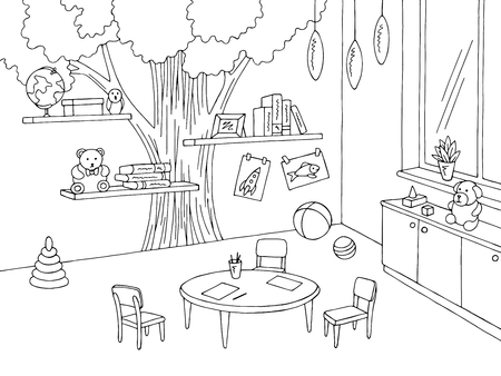 Preschool classroom graphic black white kindergarten interior sketch illustration vector