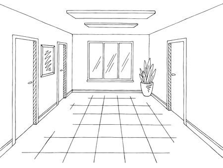 Vector de ilustración de boceto interior blanco negro gráfico de pasillo