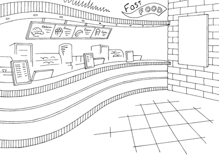 Fast food interior graphic black white restaurant sketch illustration vector