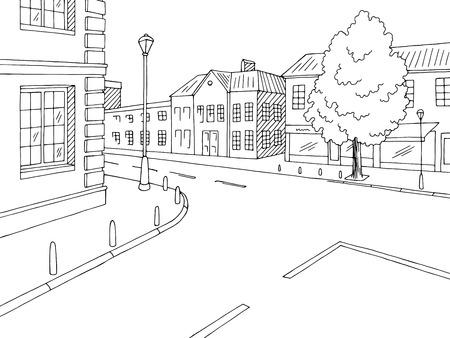 Vector de ilustración de bosquejo de calle camino gráfico cruce blanco negro ciudad paisaje