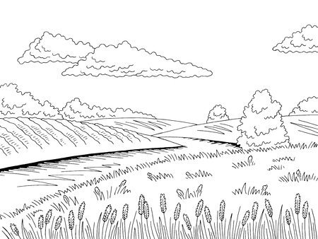 Field river graphic black white landscape sketch illustration vector Ilustração