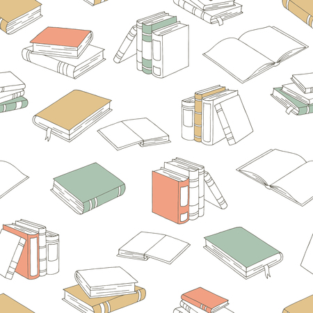 Books graphic color seamless pattern background sketch illustration vector