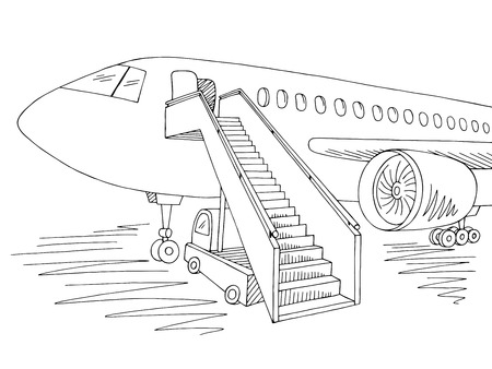 Aircraft exterior graphic black white sketch illustration vector