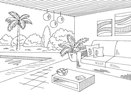 Vacation home lounge graphic black white landscape sketch illustration vector Vettoriali