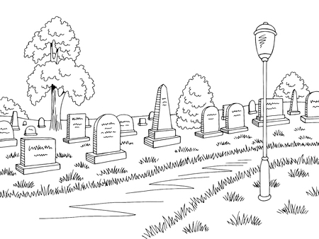 Cemetery graphic black white landscape sketch illustration vector