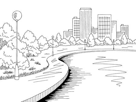 Park lake graphic black white city landscape sketch illustration vector