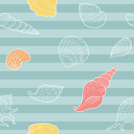 Shell graphic color seamless pattern background illustration vector