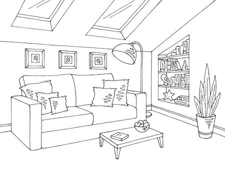 Vector de ilustración de boceto interior blanco negro gráfico de la sala de estar del ático