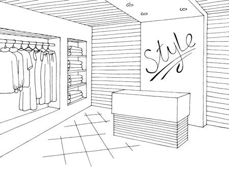 Boutique intérieur graphique noir blanc croquis illustration vecteur Vecteurs