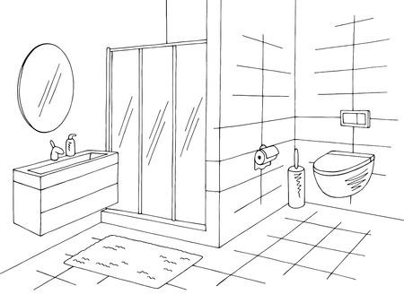 Schwarzweiss-Skizzenillustrationsvektor des Badezimmergrafikhauptinnenraums