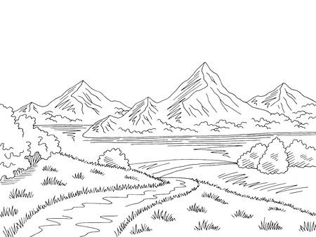 Mountain lake road graphic black white landscape sketch illustration vector