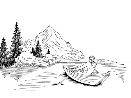 Homme ramant dans un bateau Vecteurs