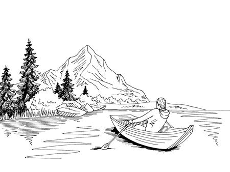 Man rowing in a boat Vetores