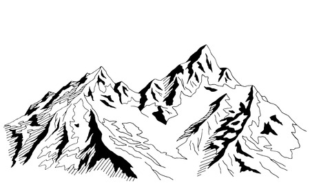 Mountains graphic black white landscape sketch illustration vector