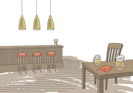 Cafe bar graphic color interior sketch illustration vector Ilustrace