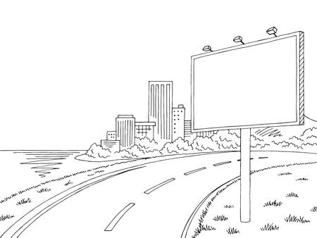 Illustrazione di schizzo del paesaggio della città in bianco e nero grafico del tabellone per le affissioni della strada Vettoriali