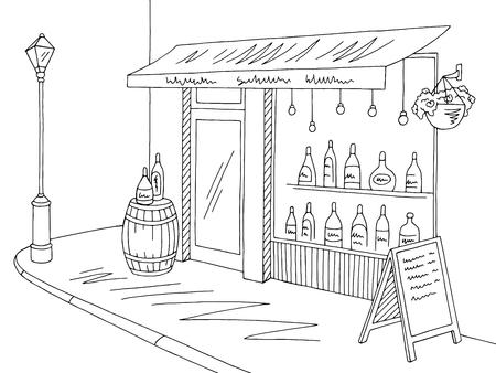 Wine shop exterior graphic black white street sketch illustration vector Vektoros illusztráció