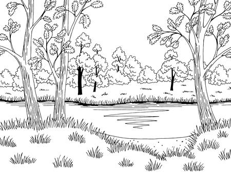 Forest lake graphic black white landscape sketch illustration vector