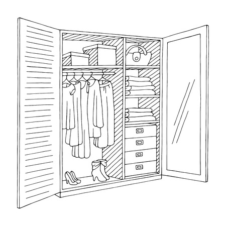 Wardrobe open doors graphic black white isolated sketch illustration vector