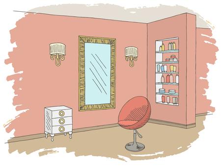 Hairdressing salon graphic color interior sketch illustration vector