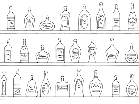 Shelves graphic black white seamless pattern background sketch vector