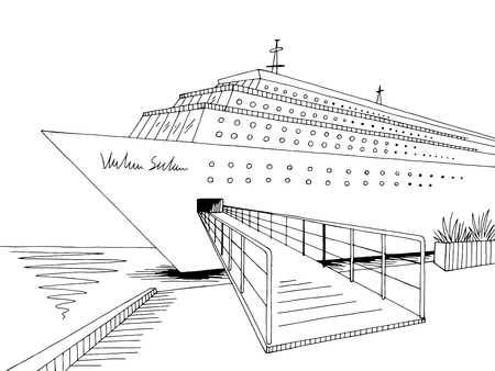 Cruise ship graphic black white landscape sketch illustration vector  イラスト・ベクター素材