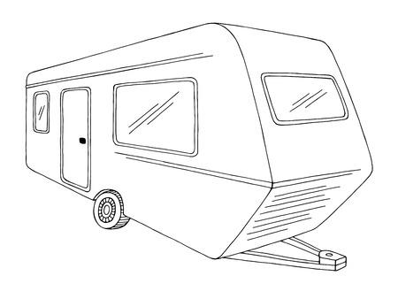 Camper Grafik schwarz weiß Skizze Illustration Vektor