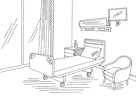 Hospital ward graphic black white interior sketch illustration vector