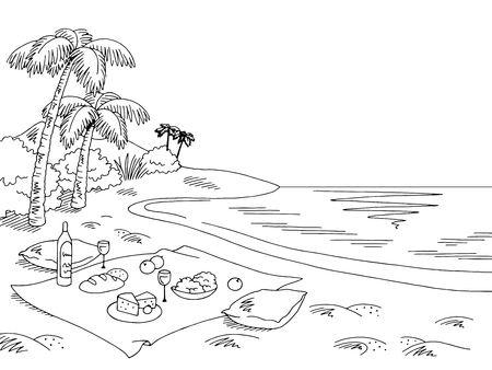 Picnic sea coast graphic black white landscape sketch illustration vector