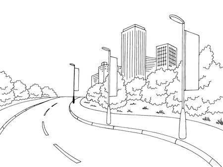 Road billboard graphic black and white city landscape sketch illustration vector Ilustração Vetorial