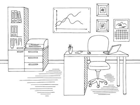 Office graphic black white interior sketch illustration vector Stock Illustratie