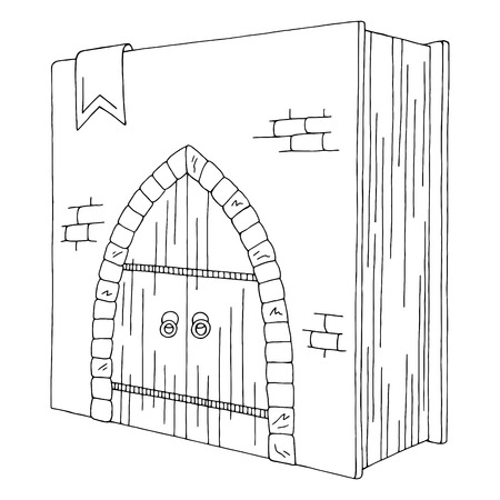 Door in the book graphic black white isolated sketch illustration vector Foto de archivo - 123795213