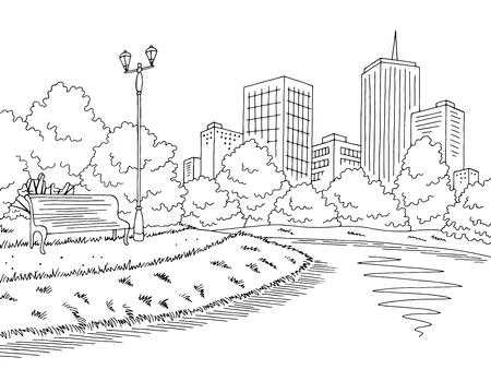 Park river graphic black white city landscape sketch vector Illusztráció