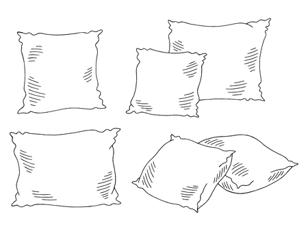 Pillows set graphic black white isolated sketch illustration vector Çizim