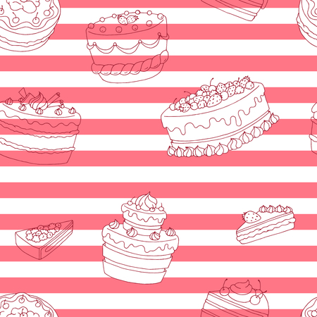 Cake dessert graphic color seamless pattern illustration vector
