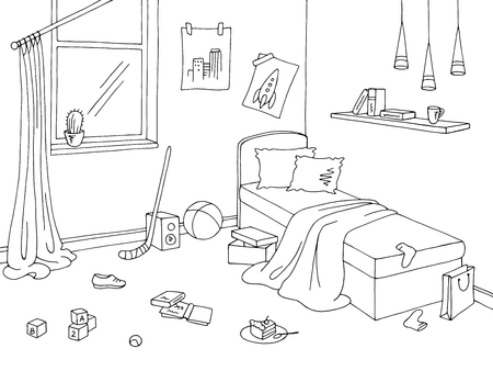 Illustrazione vettoriale di schizzo interno bianco nero grafico della stanza dei bambini di disordine Vettoriali